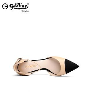 goldlion 金利来 女士拼色尖头一字扣粗高跟凉鞋8120056222 杏色 34码