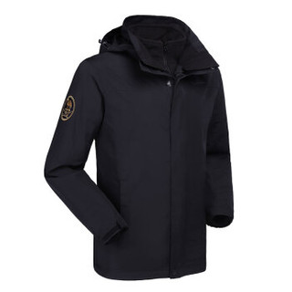 CAMEL 骆驼 冲锋衣男女三合一两件套防水防风登山服男 A8W231156 黑色 M