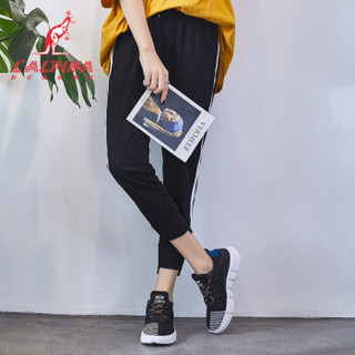 L'ALPINA 袋鼠女鞋 运动鞋韩版学生透气网面拼色条纹轻便舒适松糕厚底慢跑步休闲鞋女小白鞋1827黑白37