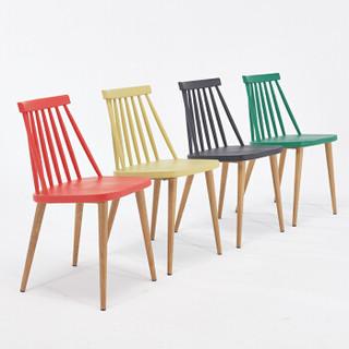 百思宜 洽谈椅 现代简约休闲时尚家用餐椅 美式温莎椅塑料靠背椅子休闲椅 黑色
