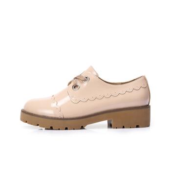 CAMEL 骆驼 女士 柔美花边英伦风舒适圆头单鞋 A83893603 粉色 35