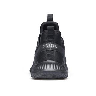 CAMEL 骆驼 透气休闲鞋跑鞋轻盈缓震柔韧耐穿 男鞋 轻便跑步鞋 A832318695 黑色 42/260