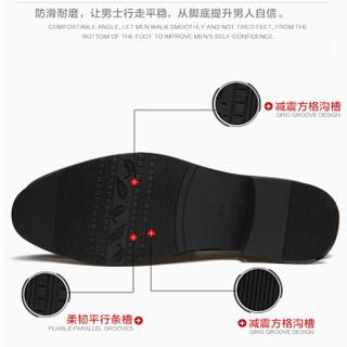 Dahongying 大红鹰 皮鞋男青年商务休闲正装时尚系带圆头二层牛皮 DHY9988 棕色 43