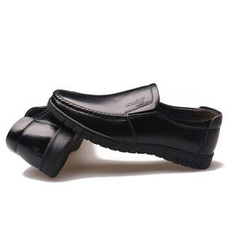 Dahongying 大红鹰 皮鞋男士头层牛皮时尚休闲商务套脚休闲一脚蹬 DHY8823 黑色 40
