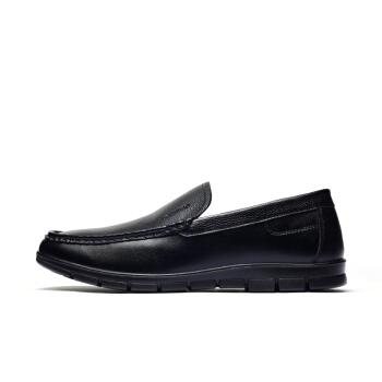 Fuguiniao 富贵鸟 商务休闲鞋男士日常套脚舒适头层牛皮青年软底耐磨 A803100 黑色 40