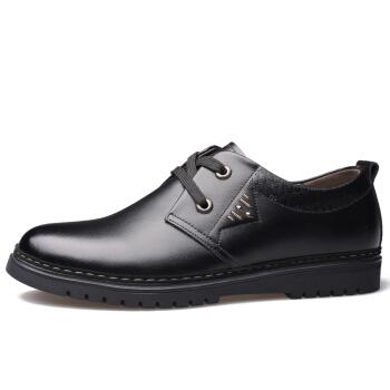 Dahongying 大红鹰 皮鞋男青年商务休闲正装时尚系带圆头二层牛皮 DHY989 黑色 44
