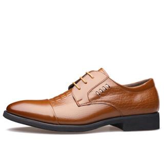 Dahongying 大红鹰 皮鞋男青年商务休闲正装时尚系带鳄鱼纹 DHY9926 黄色 40