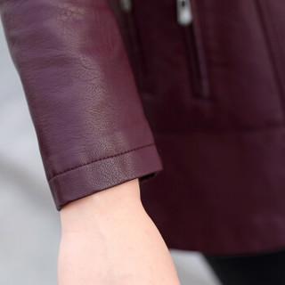 欧偲麦 女皮衣中长款PU皮衣女装皮衣外套女士皮风衣春秋季韩版修身 OMS-020SKA 枣红色 4XL