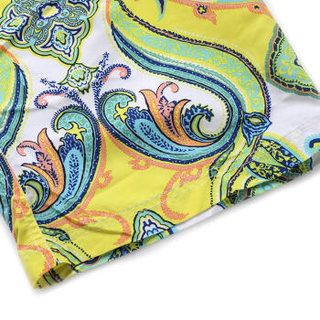 爱慕先生内衣男士海洋风情印花抽绳腰边透水易干沙滩裤游泳衣泳裤 NS82C84黄色印花180/L