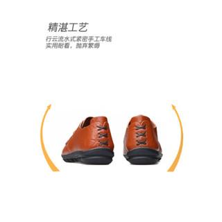Dahongying 大红鹰 皮鞋男士头层牛皮时尚休闲商务套脚休闲一脚蹬 DHY1689 红棕色 44