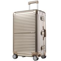 CONWOOD 康沃 行李箱 24英寸铝镁合金万向轮拉杆箱 男女铝框箱托运旅行箱 CTA001 金色