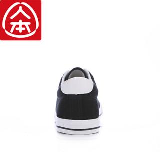 人本 帆布韩版平底休闲潮男鞋 黑色 rb99612019 男款42