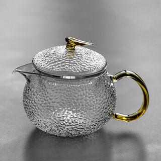 雅集锤纹玻璃茶壶 加厚过滤煮茶壶 耐高温泡茶器 家用功夫茶具600ml