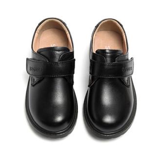 斯纳菲童鞋 男童皮鞋头层牛皮新款黑色学生表演出鞋儿童男孩单鞋18818黑色36