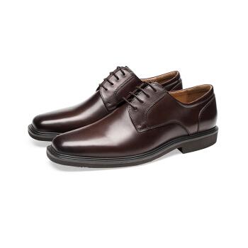 le saunda 莱尔斯丹 正装鞋 系带方头男士商务 LS 9MM66001 深咖色 42
