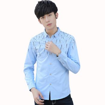 Crocodile 鳄鱼恤 衬衫男士时尚休闲条纹印花长袖衬衣男 252C925