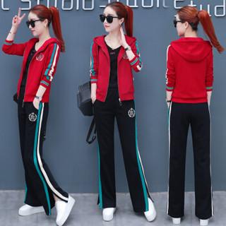 堡晟 2019春季新款女装新品卫衣女运动服套装女韩版时尚休闲女装连帽三件套 HZ650-9835TZS 黑红色 XL