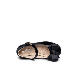 意尔康童鞋春季新款蝴蝶结女童鞋公主 儿童皮鞋ECZ8523539 黑色 29