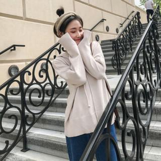 沫欣 2018秋装新款小清新毛衣女韩版宽松大码连帽套头针织衫卫衣女 LLJX1006MX 棕色 XL