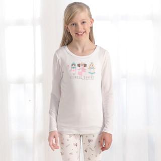唯路易vivlul儿童莫代尔内衣套儿童家居服套装男女童睡衣套 中大童内衣上下套DL117190 本白底满印110