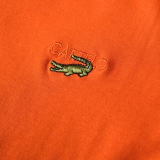 CARTELO 16001KE0902 男士翻领条纹拼接长袖POLO衫 桔色 XL