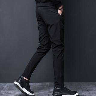 花花公子(PLAYBOY)休闲裤 男士时尚哈伦束腿裤潮流修身小脚裤子男装黑色(8801) XL