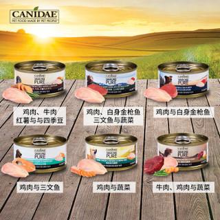 美国进口 卡比 Canidae 宠物罐头 狗粮 天然无谷 鸡肉、牛肉、红薯与四季豆 狗罐头 70g*24罐 整箱装