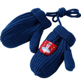 hugmii儿童手套毛线男女童保暖秋冬新款双层加厚卡通针织 汽车 3-6岁