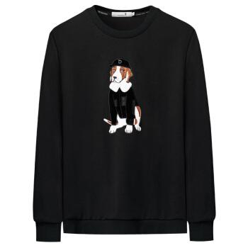 DANCING WOLVES 与狼共舞 卫衣男士秋季新款动物图案圆领套头青年卫衣 66095064410