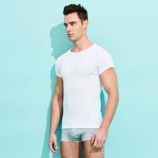 居可衣(JOCKEY)男士运动T恤短袖棉质舒适透气打底背心纯色吸汗4件装 100白 L