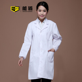 能盾白大褂男女长袖医生工作服 实验服护士工作服 医用医师服装BDG-01白色大褂XL/175