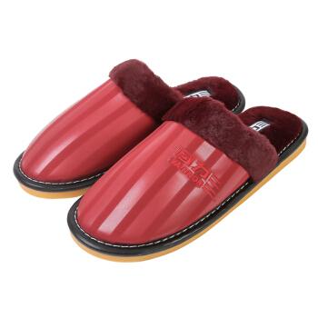 WARRIOR 回力 棉拖鞋 室内居家半包保暖 鞋底防滑 皮鞋面防溅水 女 2512 大红 39-40