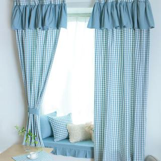 锦色华年格调窗帘窗幔卧室 飘窗窗帘短帘小清新布艺帘 蓝色小格子挂钩式(带裙幔) 1.45米宽x2.0米高一片