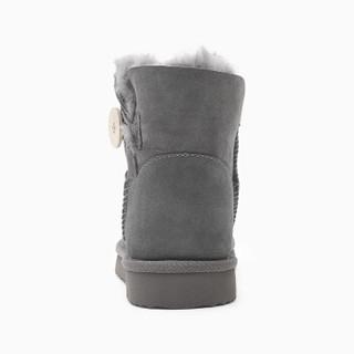 InteRight 皮毛一体保暖雪地靴时尚纽扣女靴 灰色 235码