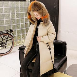 朗悦女装 2018冬季中长款韩版加厚连帽白鸭绒时尚面包服羽绒服女LWYR188T11 米白 M