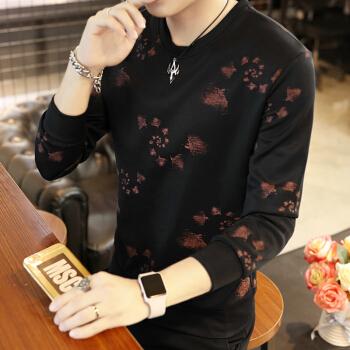 Fuguiniao 富贵鸟 卫衣男装新款长袖T恤圆领印花运动休闲宽松套头打底衫 18030FG311