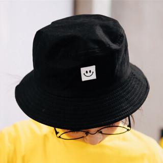 北诺(BETONORAY)渔夫帽夏季遮阳帽女 帽子男韩版潮学生宝宝户外百搭沙滩帽嘻哈个性盆帽 笑脸款黑色