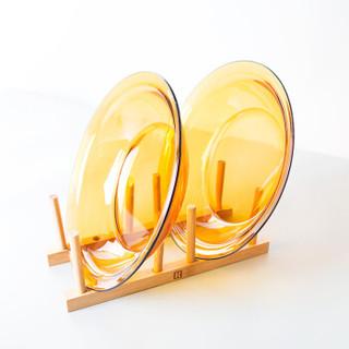 DURALEX 耐热钢化玻璃盘子碟子 家用圆形菜盘碟子早餐饺子盘琥珀色2只装3018D