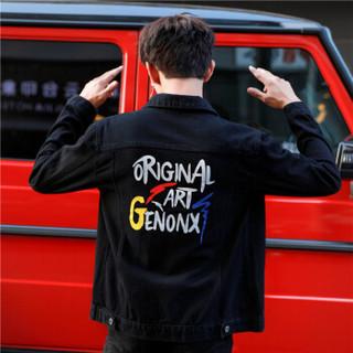 富贵鸟(FUGUINIAO)牛仔外套男个性字母印花牛仔衣休闲夹克衫 黑色 L