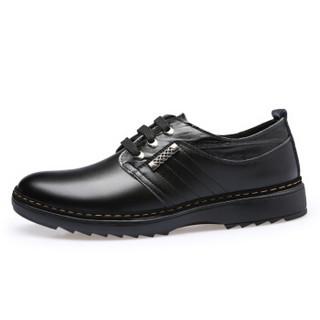 Mexican 稻草人 商务休闲皮鞋男士正装真二层牛舒适系带英伦防滑 981 黑色 41