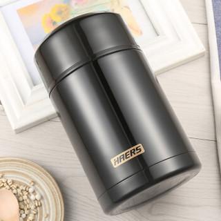 HAERS 哈尔斯 LTH-1000-18 304不锈钢焖烧杯 1000ml 黑色