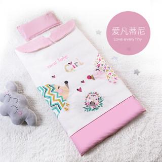 AUSTTBABY 婴儿睡袋 儿童防踢被宝宝被子可拆洗套装 爱凡蒂尼90*150cm棉花内芯