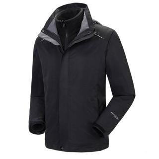 Fuguiniao 富贵鸟 情侣款三合一冲锋衣防水保暖带帽可拆卸两件套冲锋衣 D855 黑色 2XL