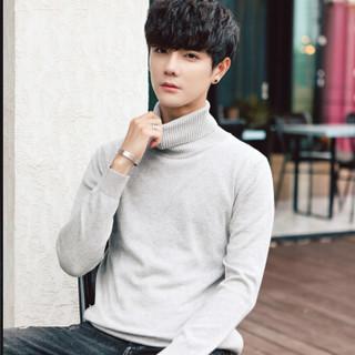 稻草人(MEXICAN)针织衫男士高领毛衣2018年秋新款修身时尚保暖毛线衣男装 灰色 XL