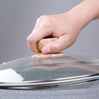 法焙客(FOR BAKE)麦饭石锅(28cm)带盖 不粘煎锅平底锅 平底锅雪花酥牛轧糖专用锅炒锅电磁炉