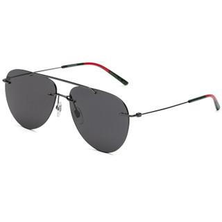 GUCCI 古驰 eyewear 男款太阳镜 金属墨镜 GG0397S-001 钌红色镜框灰色镜片 60mm