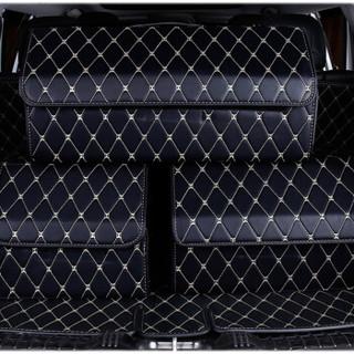华饰 汽车收纳箱储物箱 车载收纳箱车用整理箱多功能折叠置物箱整理箱子 汽车用品 黑皮白线-大号