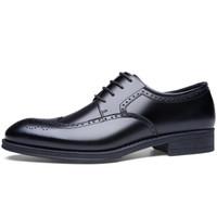 Bejirog 北极绒 男士复古布洛克商务牛皮低帮系带皮鞋男9124 黑色 40
