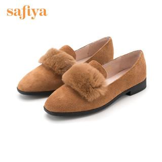 SAFIYA 索菲娅 专柜同款绒面牛皮舒适圆头低跟浅口毛毛单鞋女 SF83112056 棕色 39