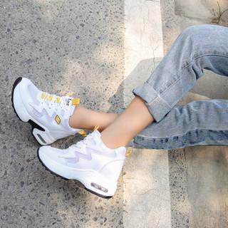 CARTELO 卡帝乐鳄鱼 休闲小白鞋女士运动潮流时尚舒适网布系带厚底内增高 KDLKP1825-2 白黄 37